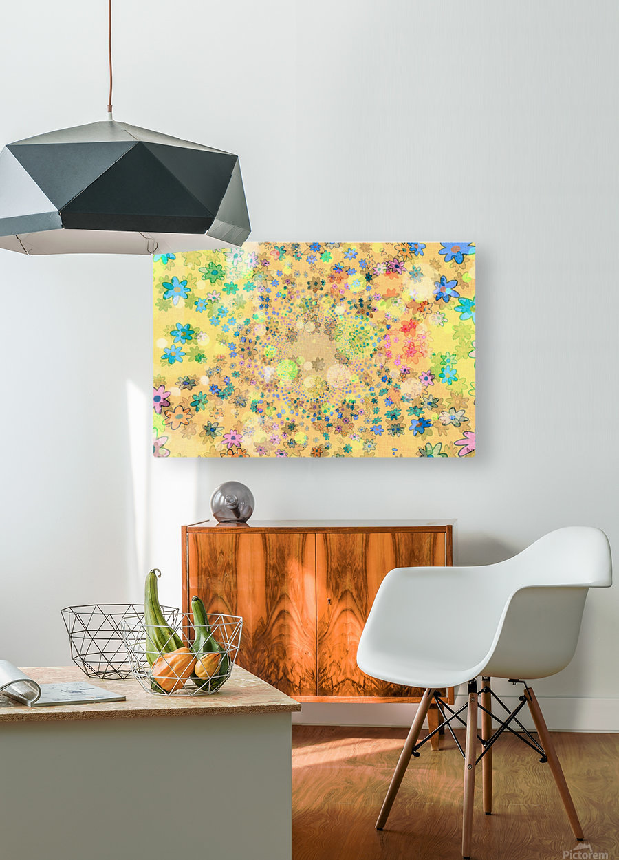 flowers color colorful watercolour  HD Metal print with Floating Frame on Back