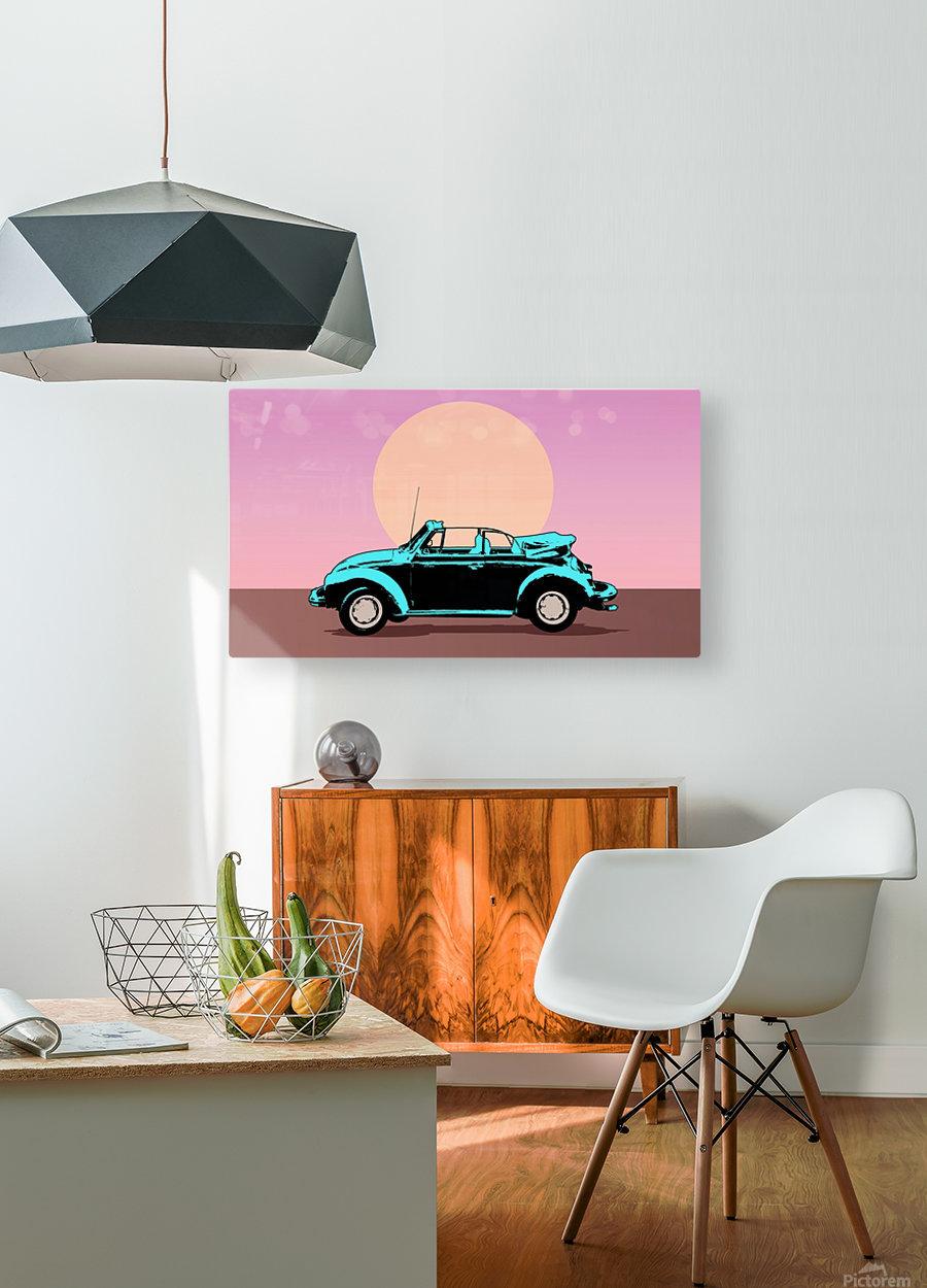 car poster retro vintage landscape  HD Metal print with Floating Frame on Back