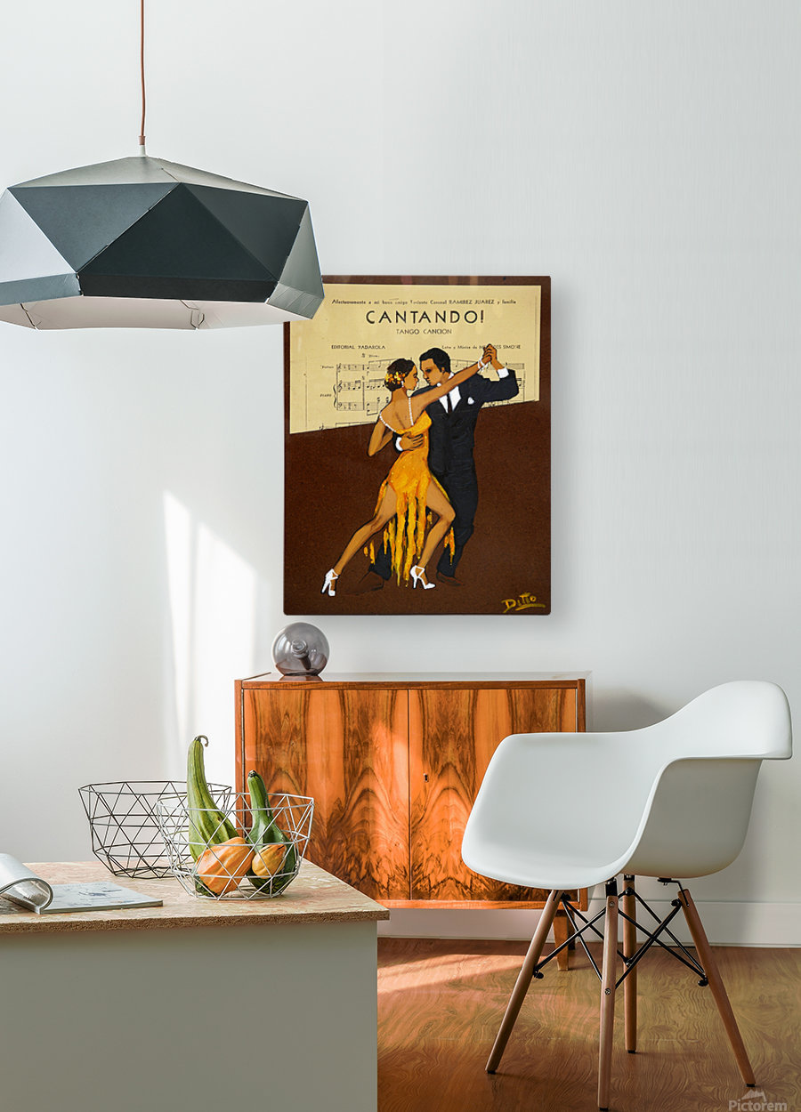 advertisement tango music dance  HD Metal print with Floating Frame on Back