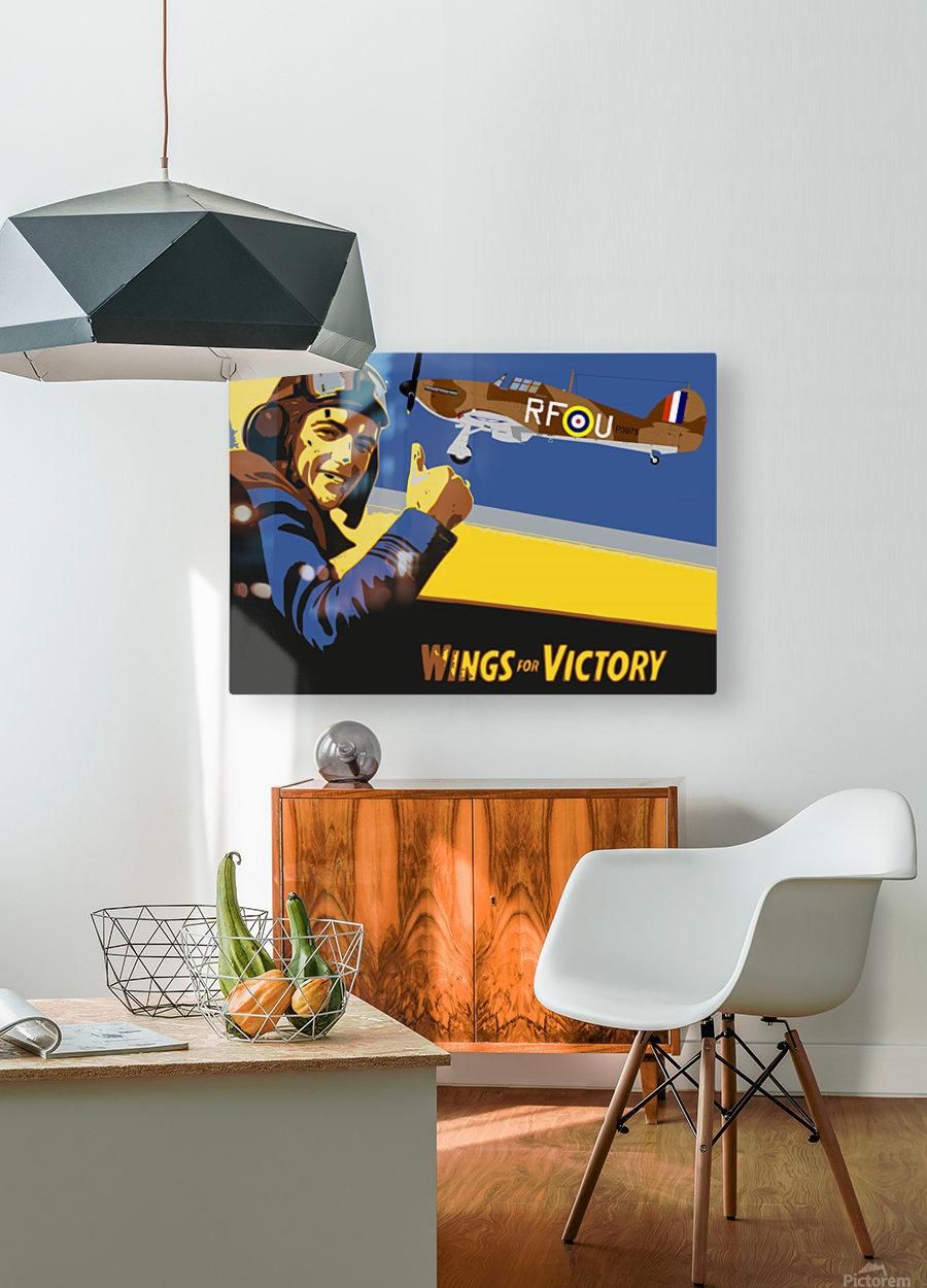 vintage war pilot airplane victory  HD Metal print with Floating Frame on Back