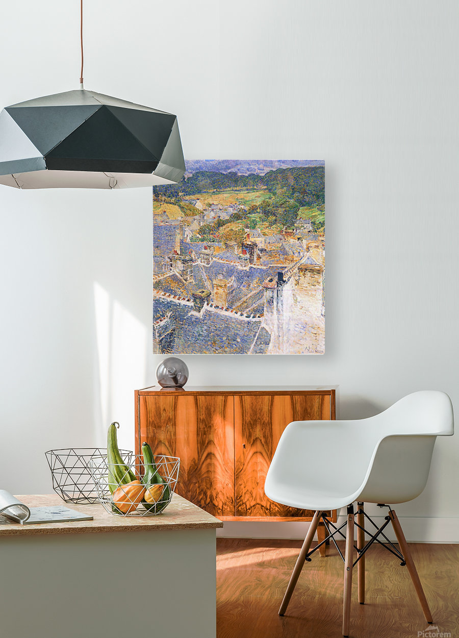 Roofs, Pont-Aven by Hassam  HD Metal print with Floating Frame on Back