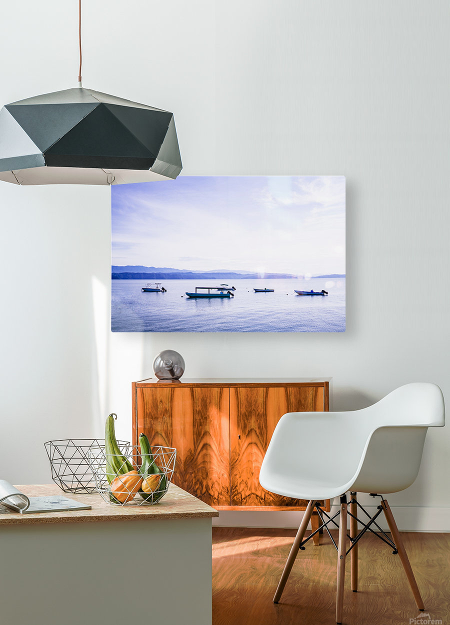 Sunrise in the Osa peninsula with boats in harbour  HD Metal print with Floating Frame on Back