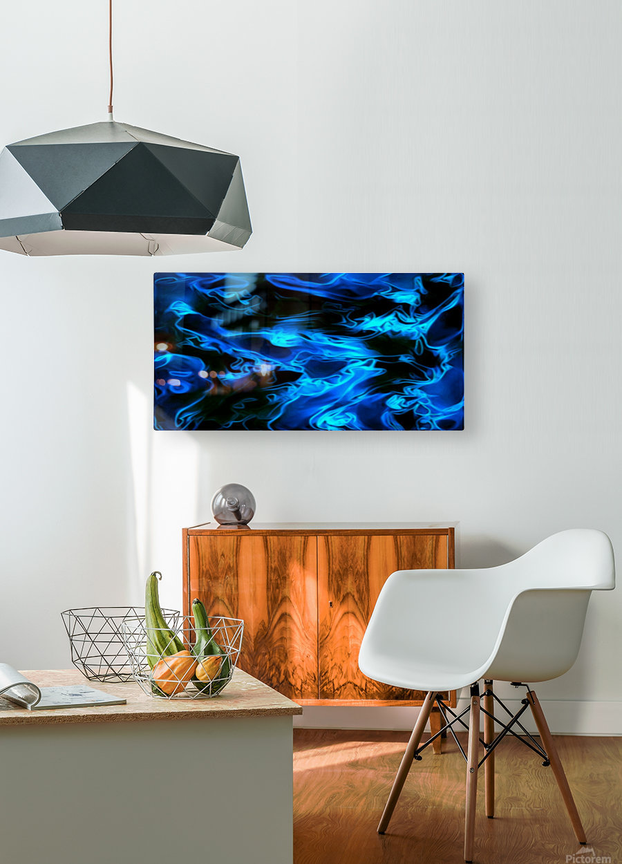 True Lightning - blue white black swirls abstract wall art  HD Metal print with Floating Frame on Back
