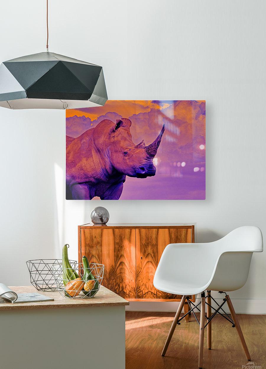 White Rhino orange purple  HD Metal print with Floating Frame on Back