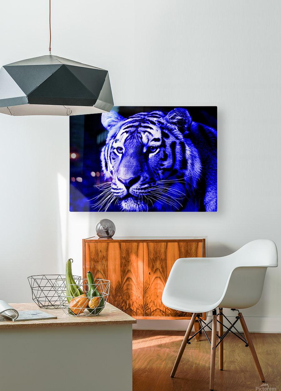 Tiger pop blue  HD Metal print with Floating Frame on Back