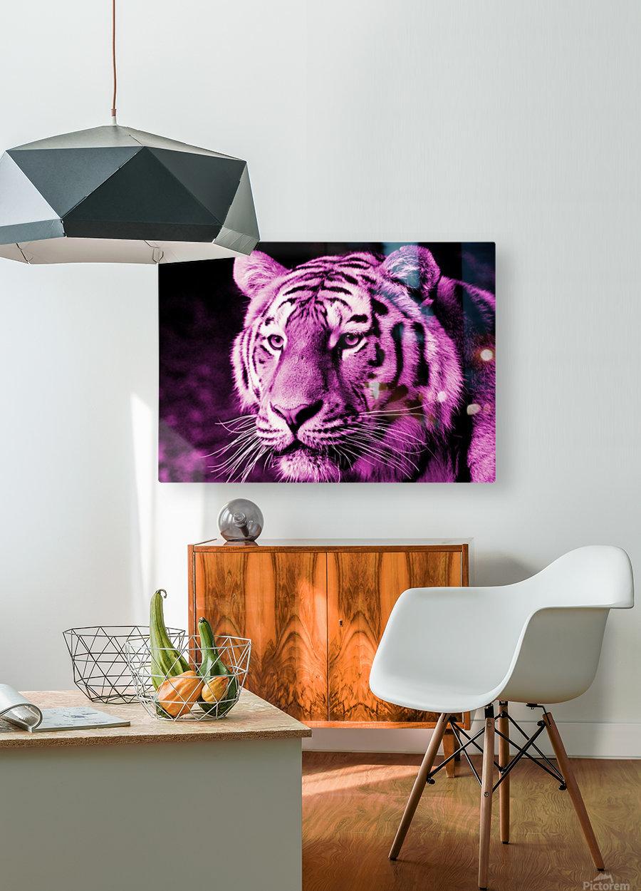 Tiger pop pink  HD Metal print with Floating Frame on Back