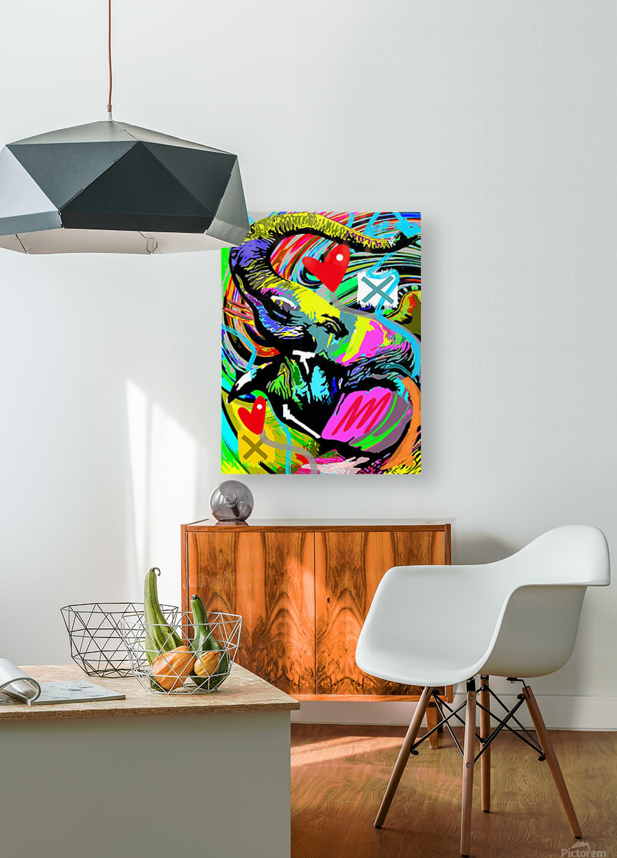 Color Elephant  HD Metal print with Floating Frame on Back