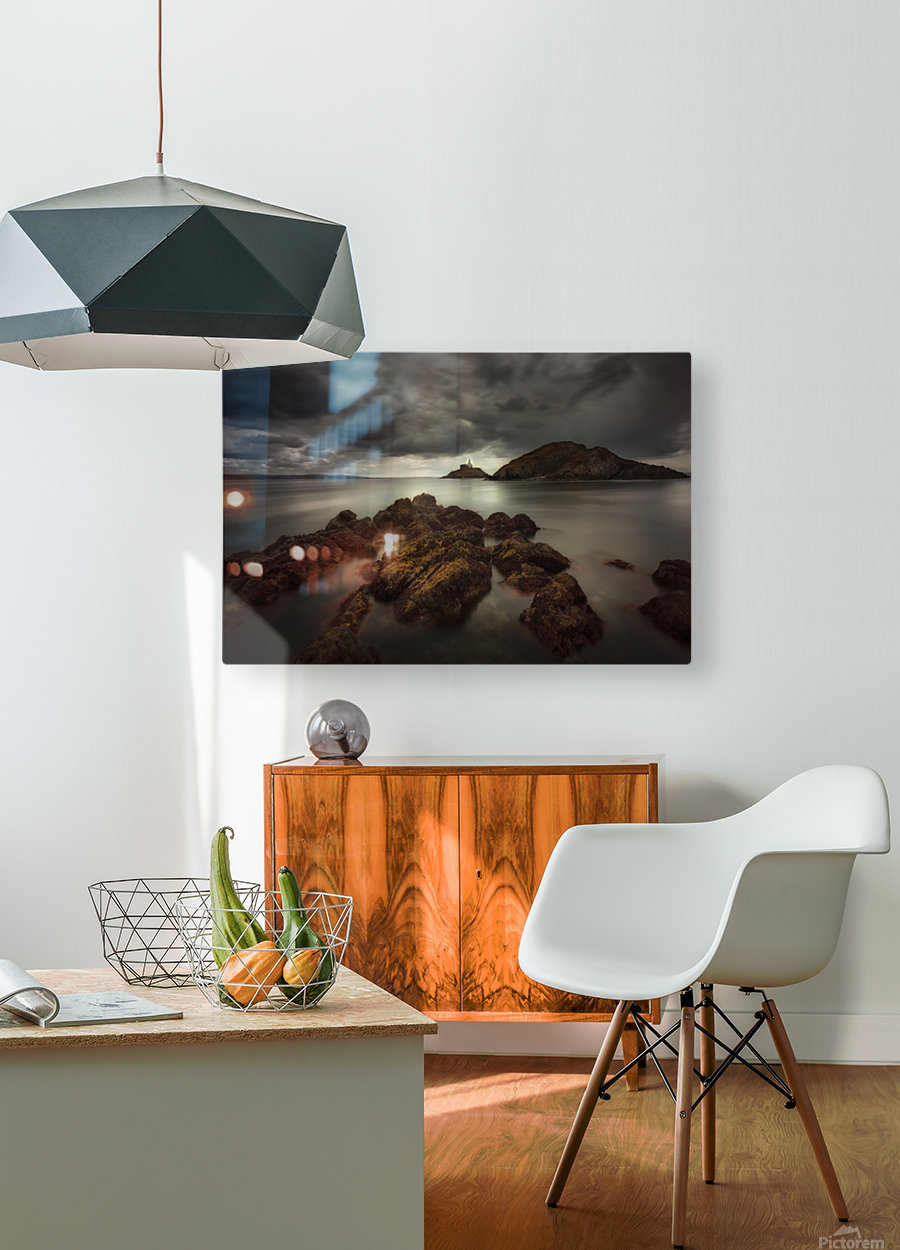 Storm clouds over Mumbles lighthouse  HD Metal print with Floating Frame on Back