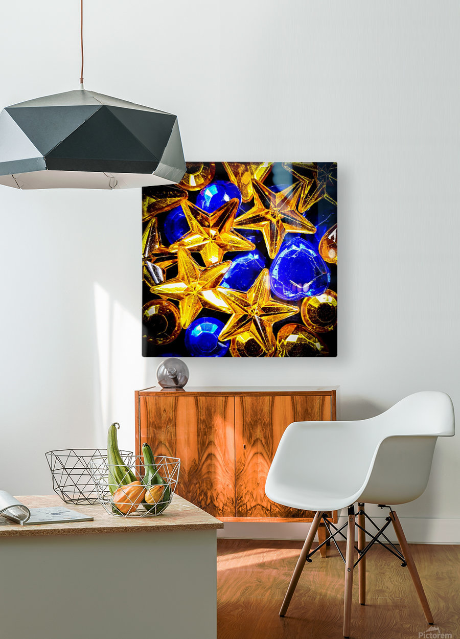 Blue and Gold Plastic Jewels  HD Metal print with Floating Frame on Back
