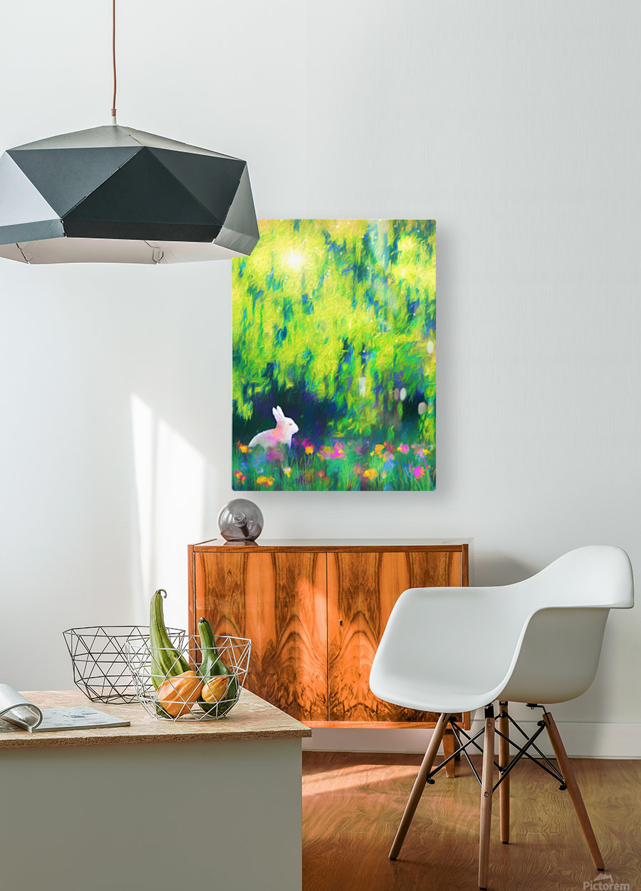Bunny beneath the Willow Tree  HD Metal print with Floating Frame on Back