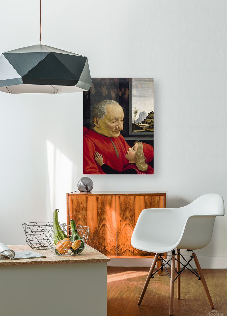 Old man and his son  HD Metal print with Floating Frame on Back