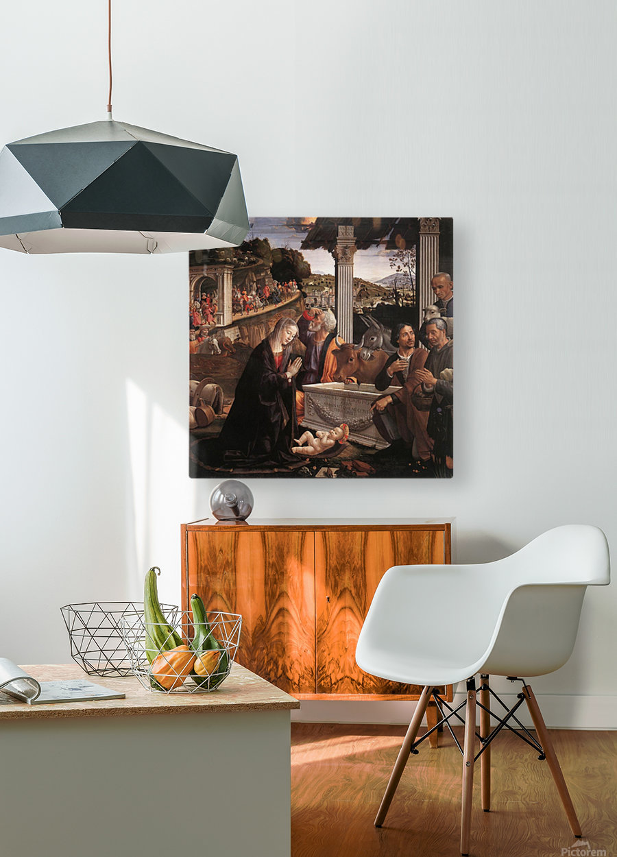 The adoration of the sheperds  HD Metal print with Floating Frame on Back