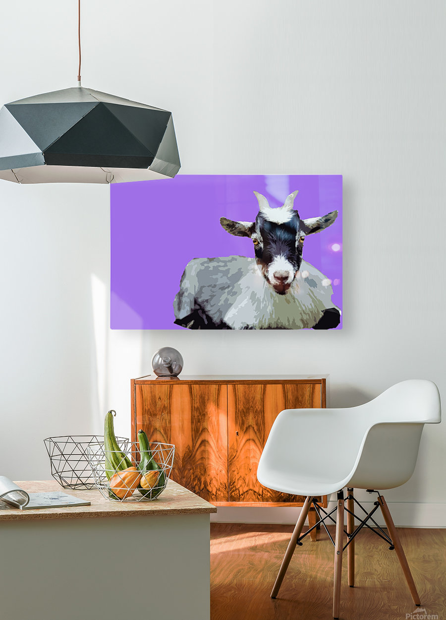 Goat popart purple  HD Metal print with Floating Frame on Back