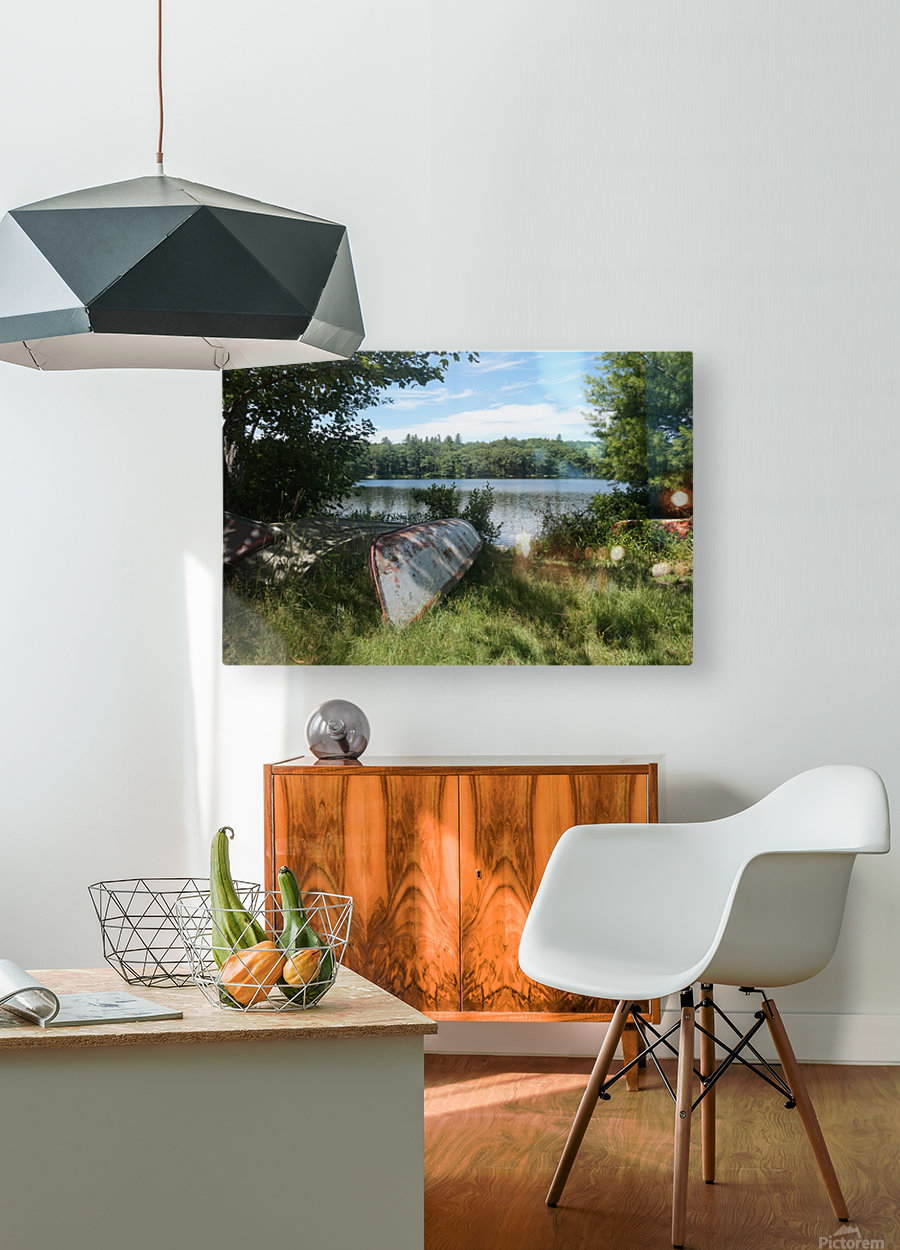 Lonely canoe  HD Metal print with Floating Frame on Back