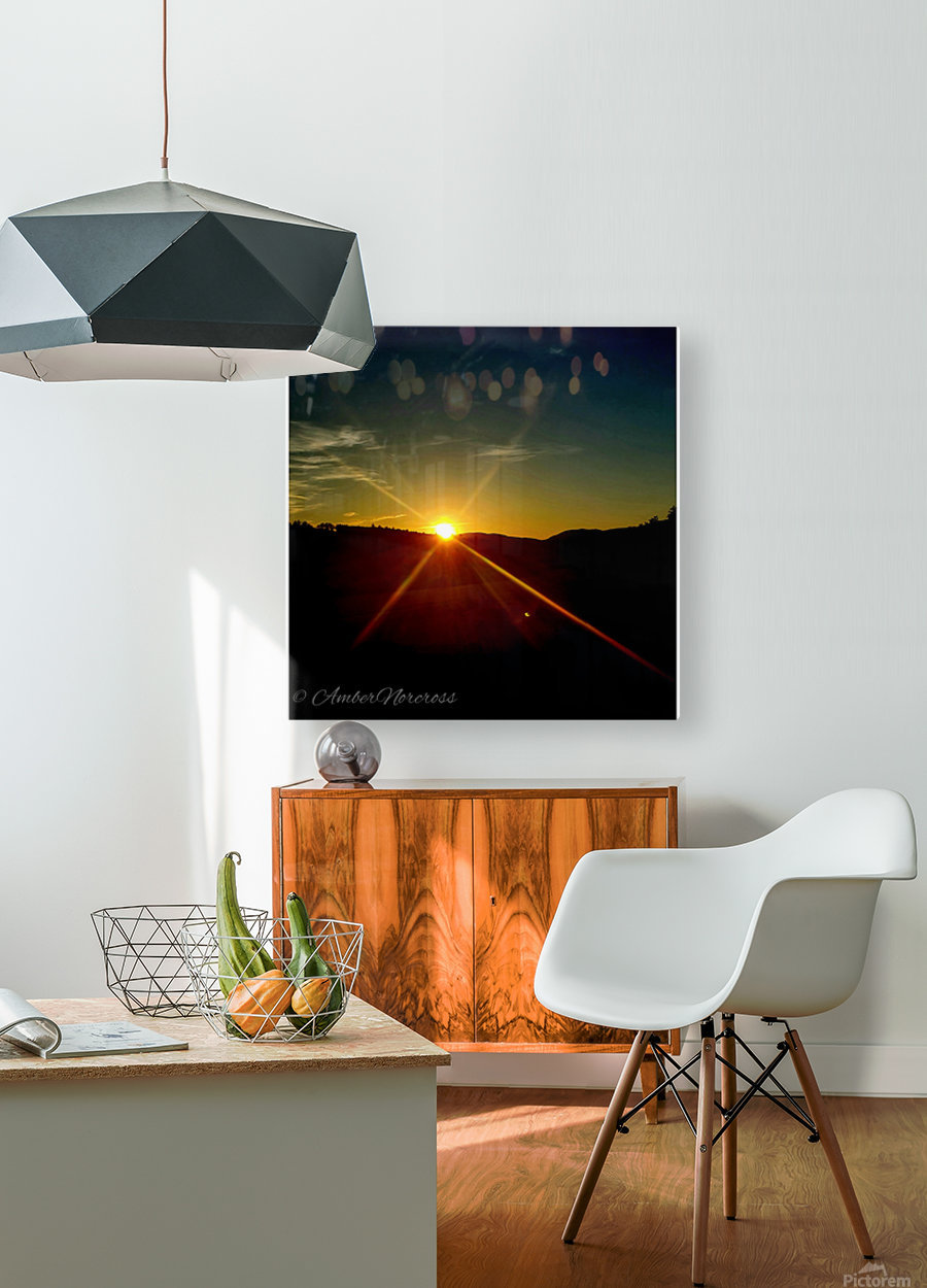Glinting horizon  HD Metal print with Floating Frame on Back