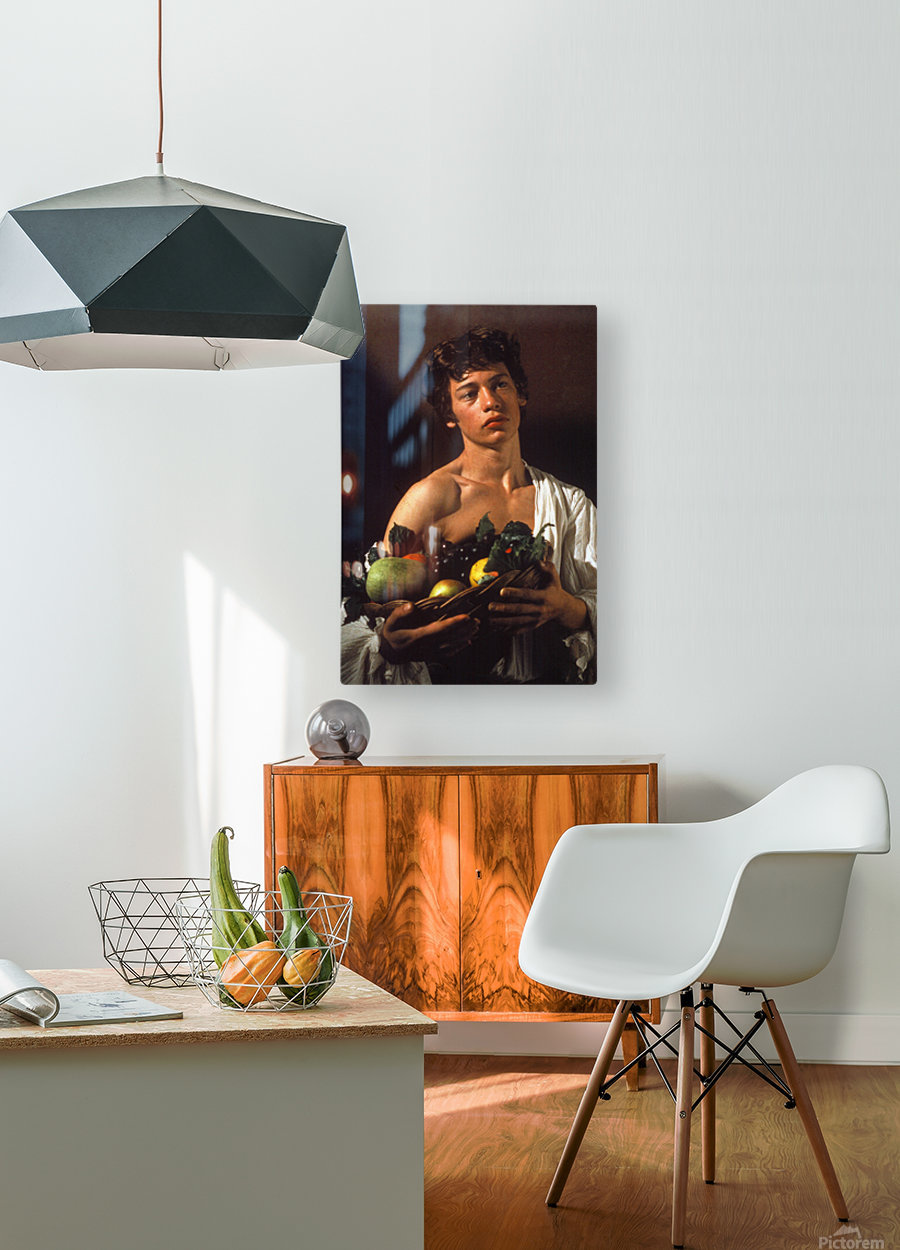 Man with fruits  HD Metal print with Floating Frame on Back