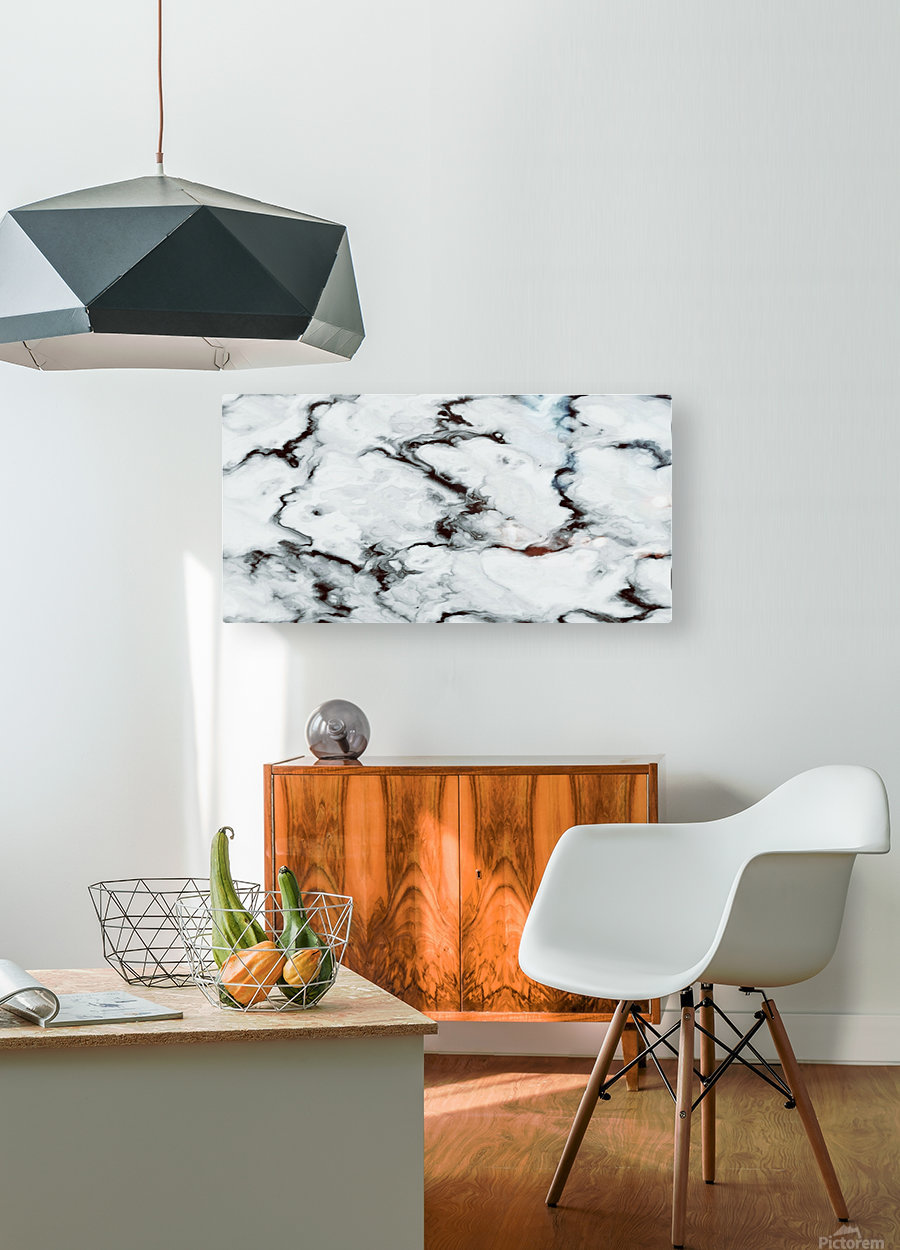 True White Marble - panoramic abstract wall art  HD Metal print with Floating Frame on Back