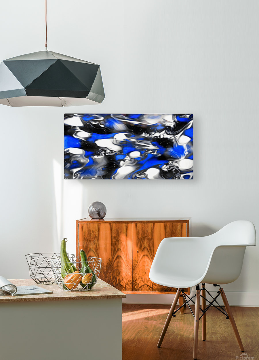 Booster - blue white black silver spots swirls abstract wall art  HD Metal print with Floating Frame on Back