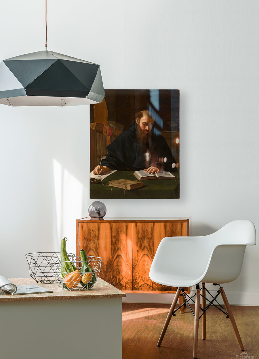 Saint Augustine in his study  HD Metal print with Floating Frame on Back