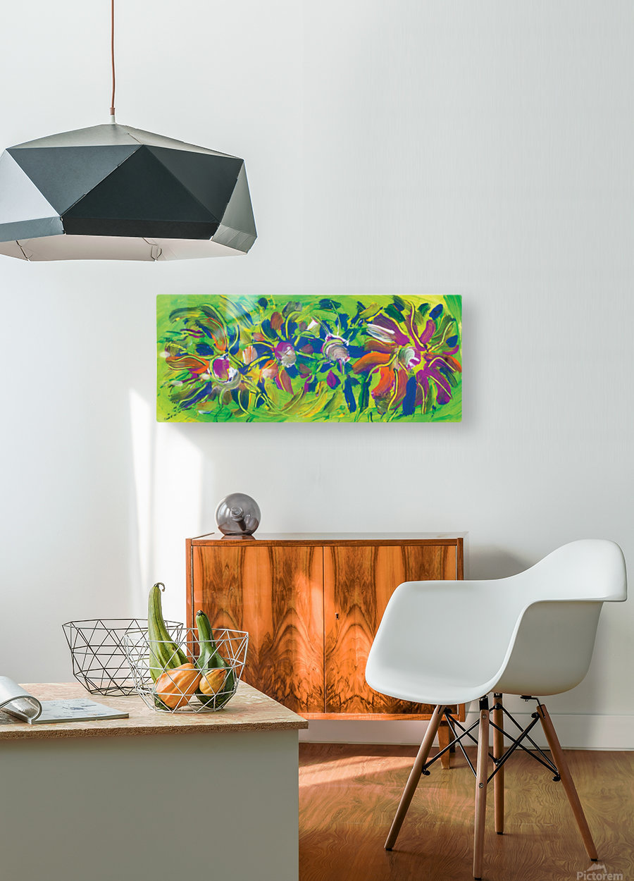 abstract multicolored flowers  HD Metal print with Floating Frame on Back