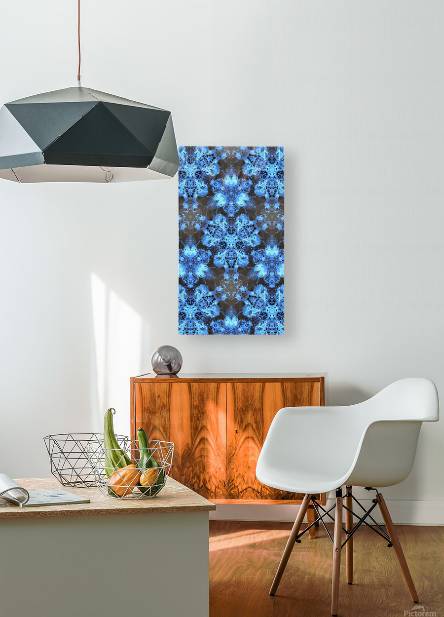 Kaleidoscope Burst of Blue   HD Metal print with Floating Frame on Back