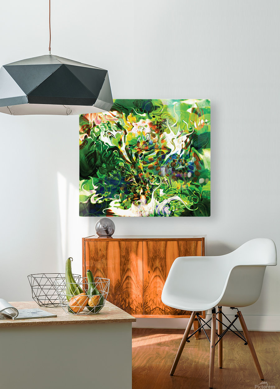green fluid abstract  HD Metal print with Floating Frame on Back
