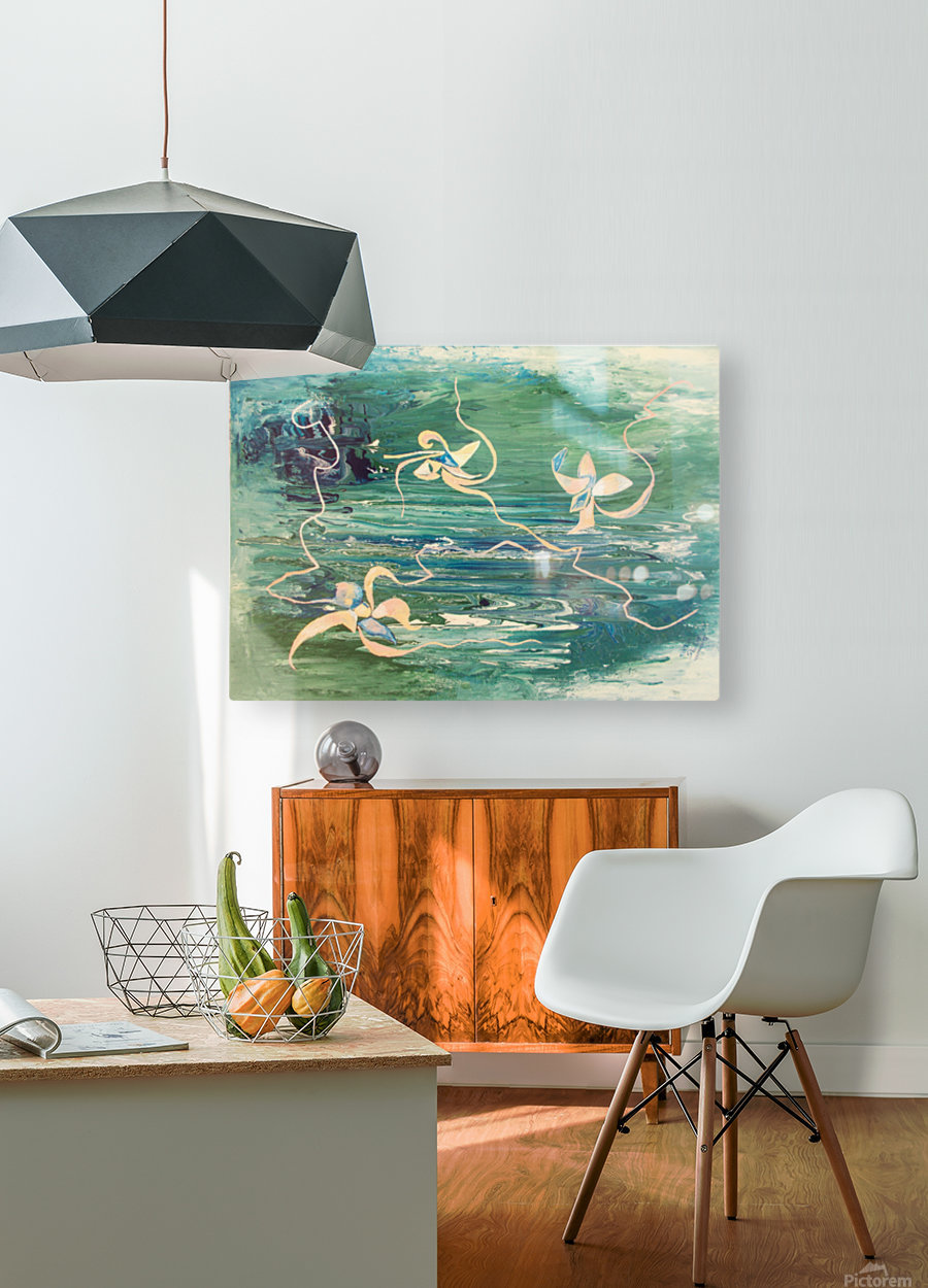 water surface abstraction  HD Metal print with Floating Frame on Back
