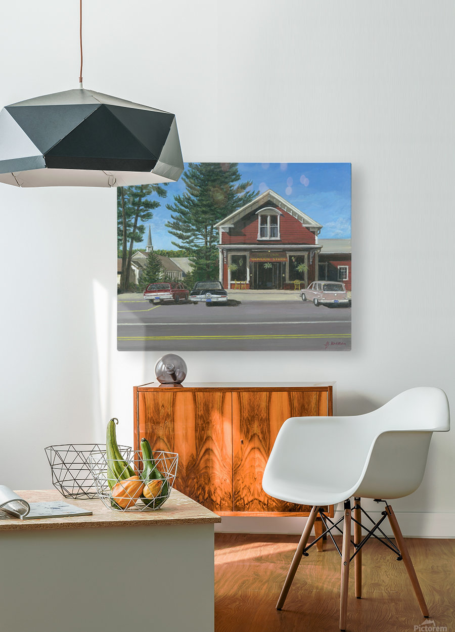 Church House and Store - Newtown Scenes 16X20  HD Metal print with Floating Frame on Back