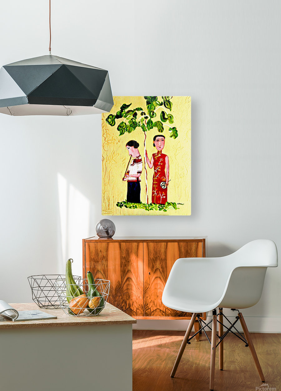 AS - Two Chinese Ladies  HD Metal print with Floating Frame on Back