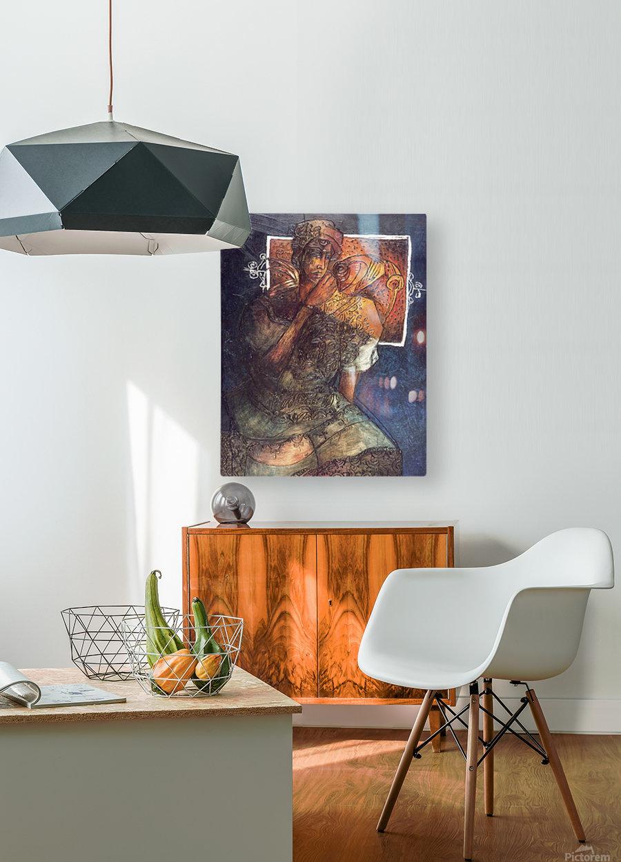 Femme assise  Impression métal HD avec cadre flottant sur le dos