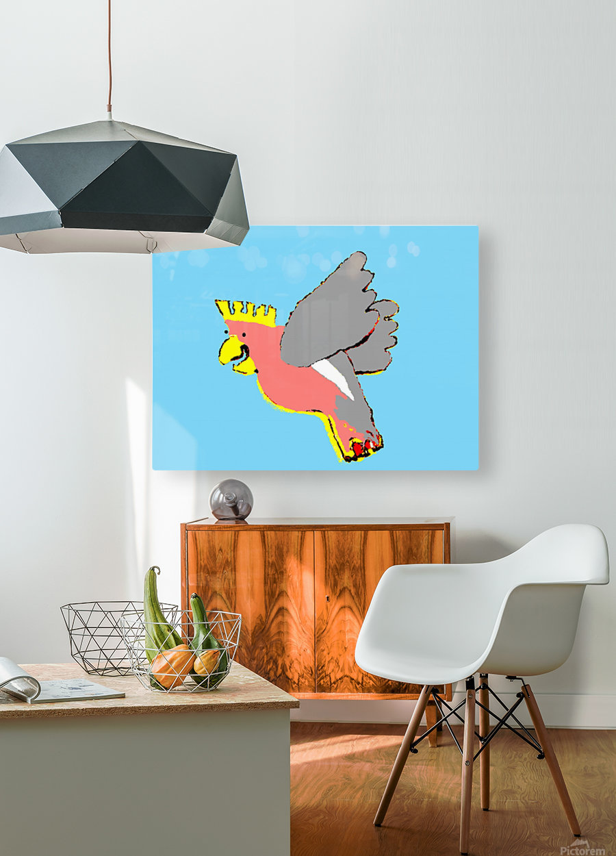 Laughing Galah - Blue  HD Metal print with Floating Frame on Back