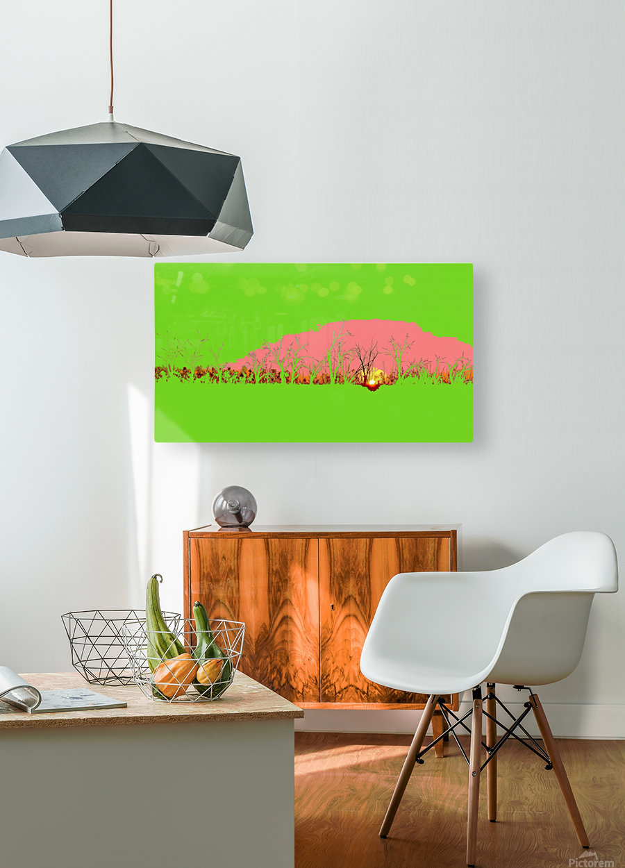 Lake Sunset - Green  HD Metal print with Floating Frame on Back