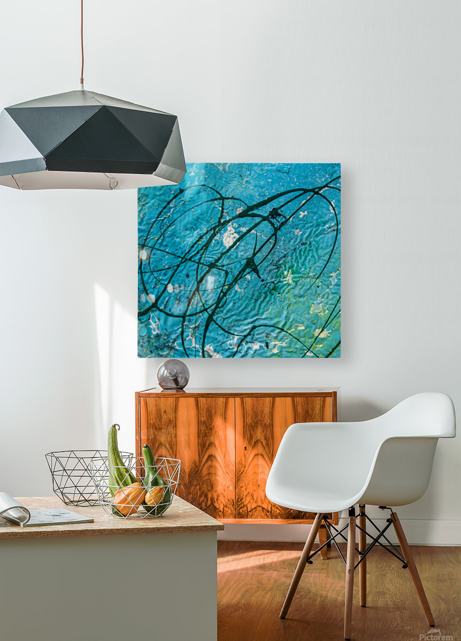 light blue abstract  HD Metal print with Floating Frame on Back