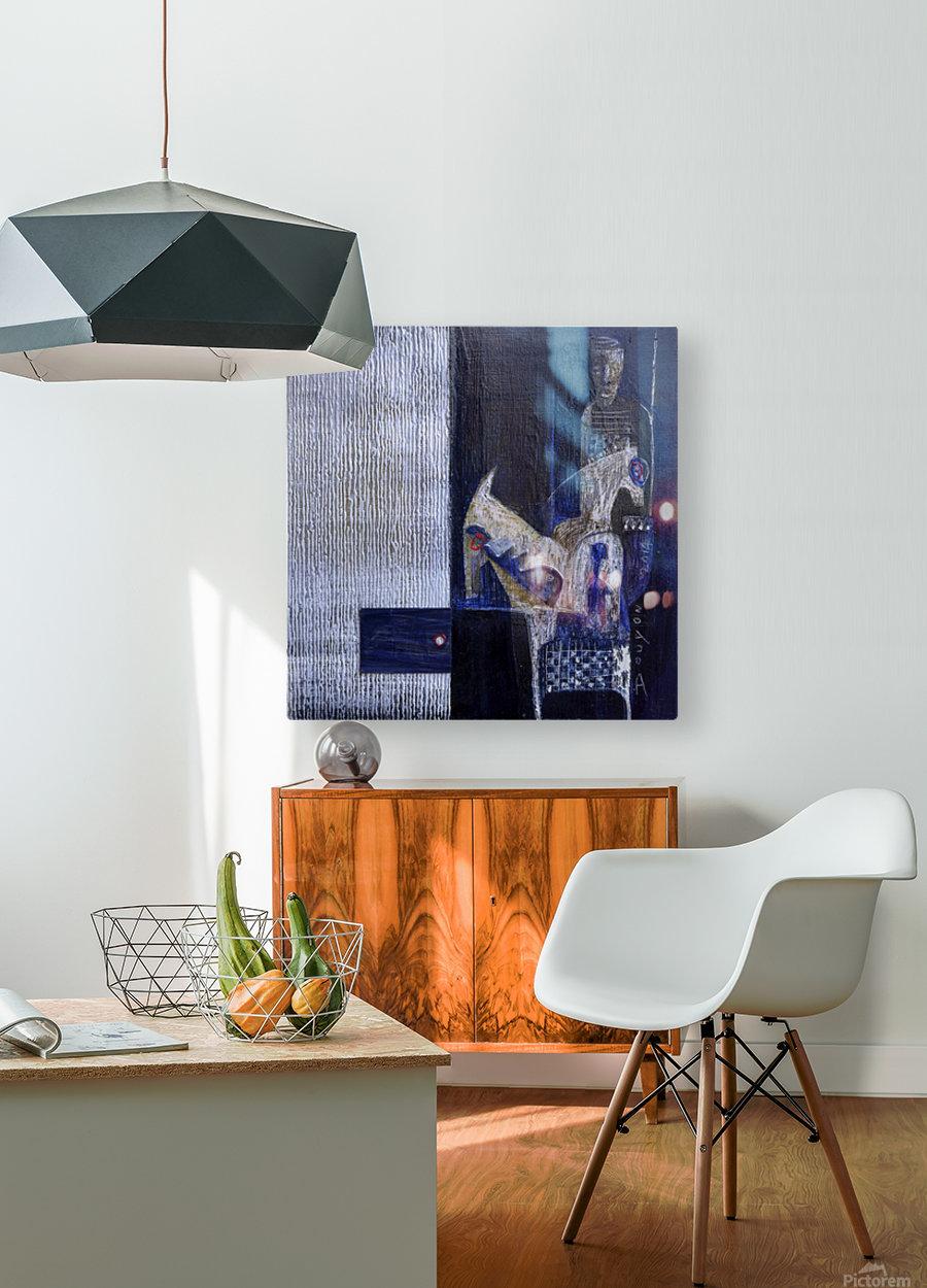 Blue Horserider 1  Impression métal HD avec cadre flottant sur le dos