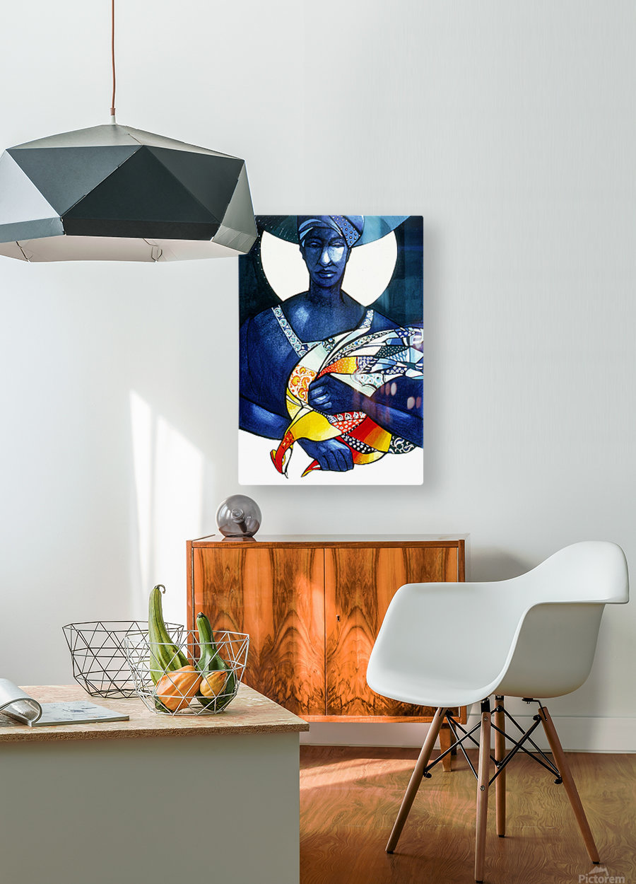 Blue Woman with a bird  HD Metal print with Floating Frame on Back