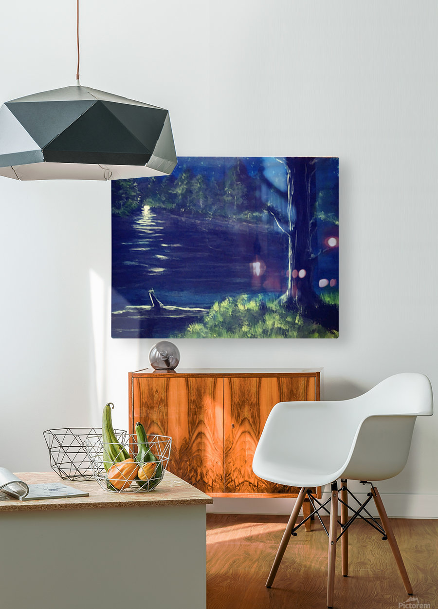 Peaceful Moonlit night  HD Metal print with Floating Frame on Back