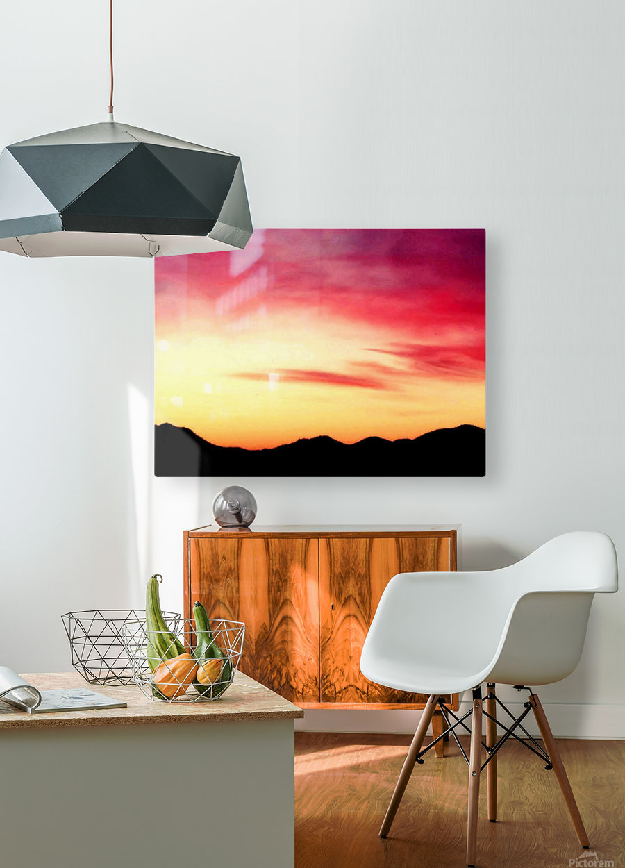 Colorful Dusk Mountain view  HD Metal print with Floating Frame on Back