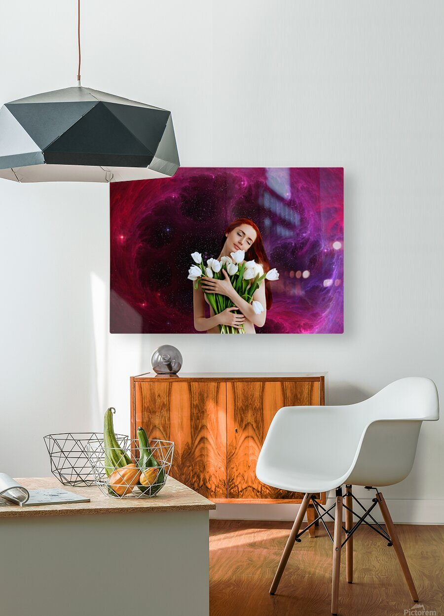 Girl with tulips. Madonna 3  HD Metal print with Floating Frame on Back