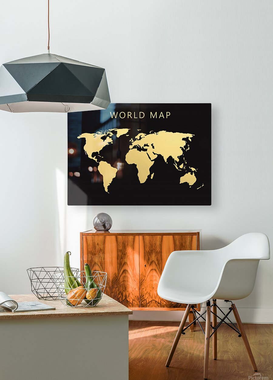 map world 2  HD Metal print with Floating Frame on Back