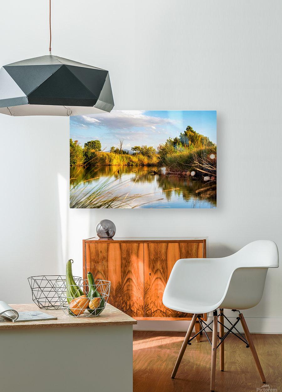 Serene River  HD Metal print with Floating Frame on Back