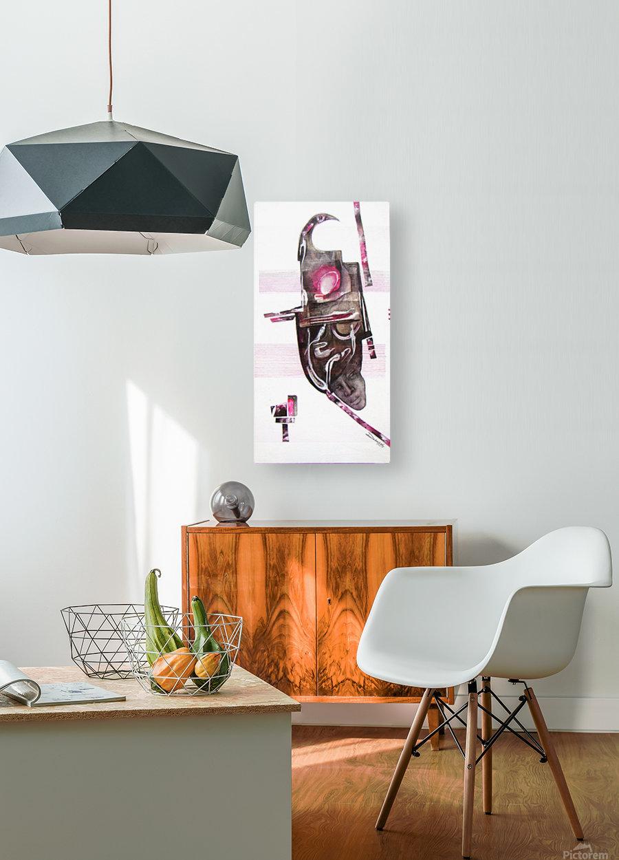noir_blanc_rose  Impression métal HD avec cadre flottant sur le dos