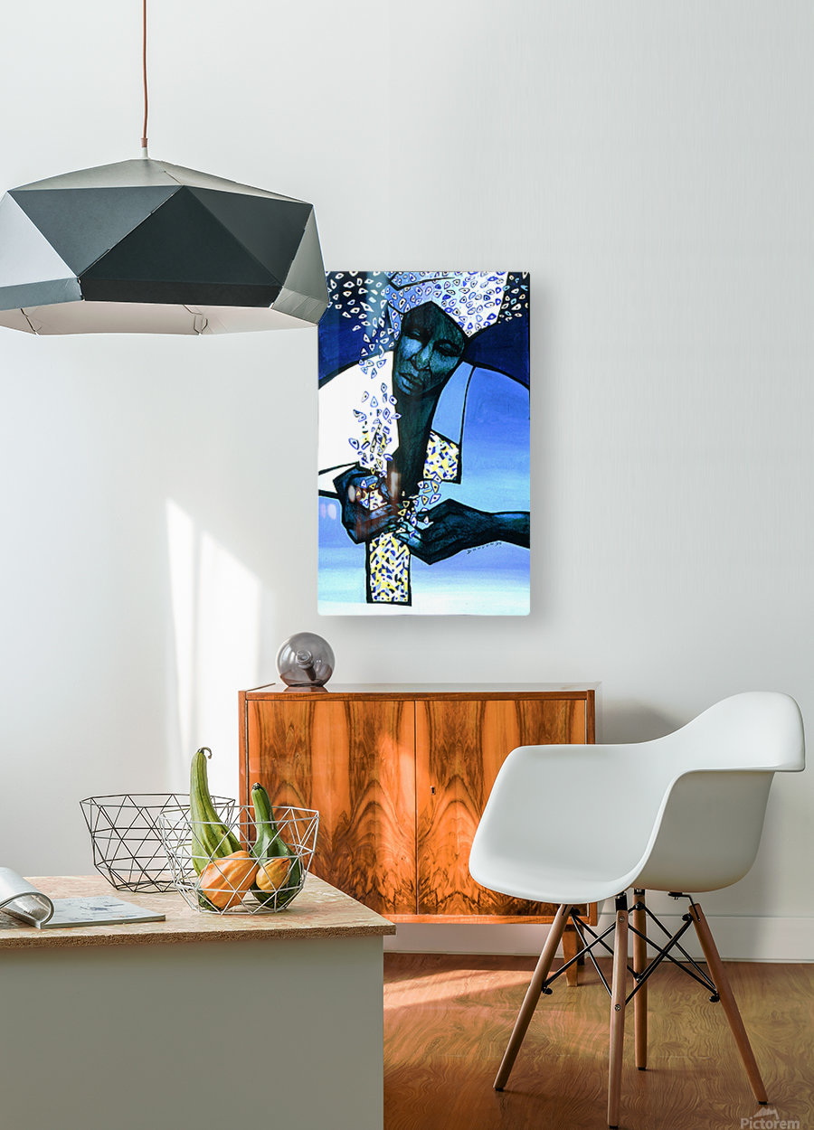 blue fragments  HD Metal print with Floating Frame on Back