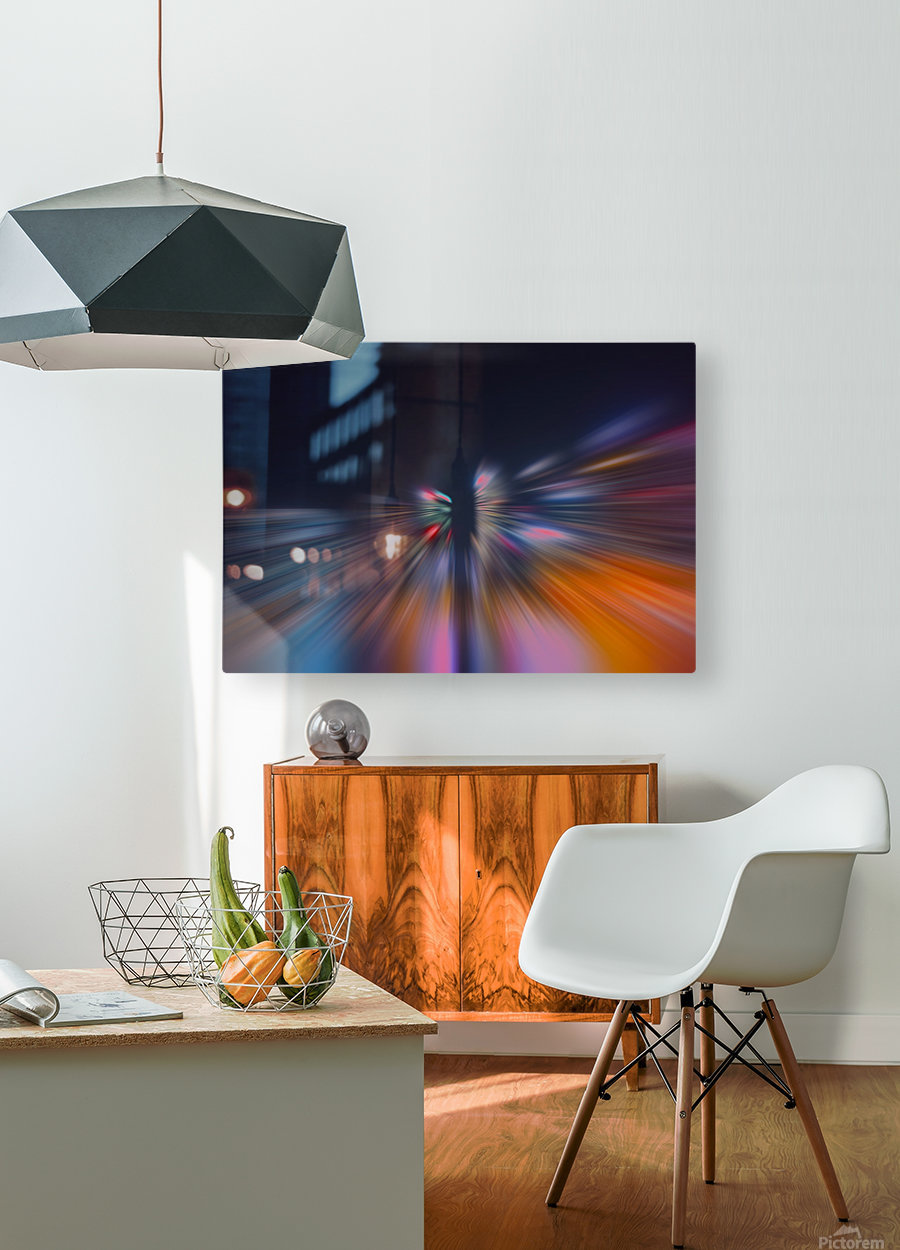 Radial_orangeblue  HD Metal print with Floating Frame on Back