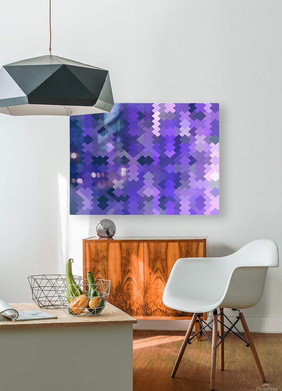 geometric square pixel pattern abstract in purple  HD Metal print with Floating Frame on Back