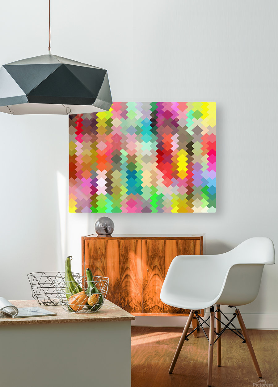 geometric square pixel pattern abstract in red blue green yellow  HD Metal print with Floating Frame on Back