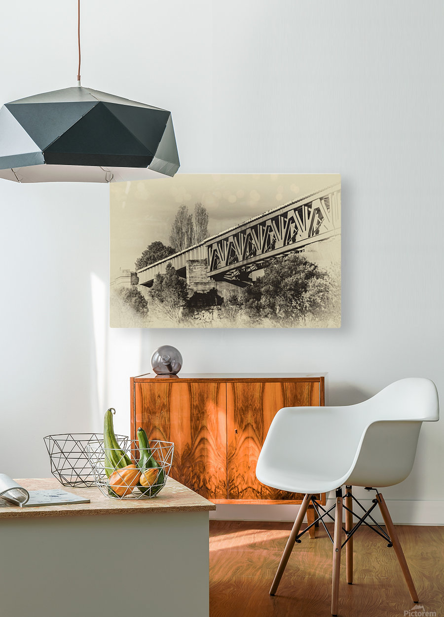 Railway Bridge in B&W  HD Metal print with Floating Frame on Back