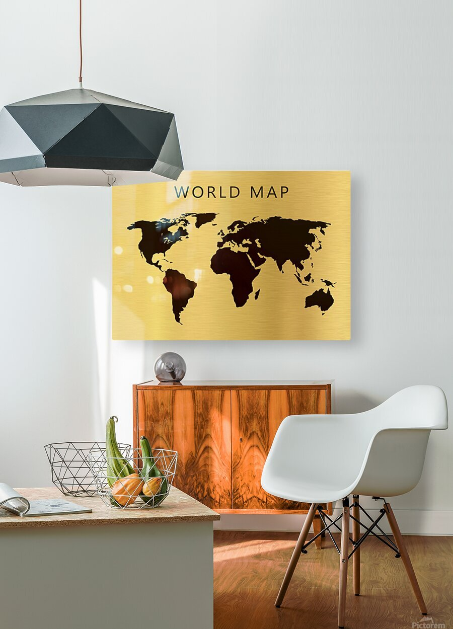 map world 4  HD Metal print with Floating Frame on Back