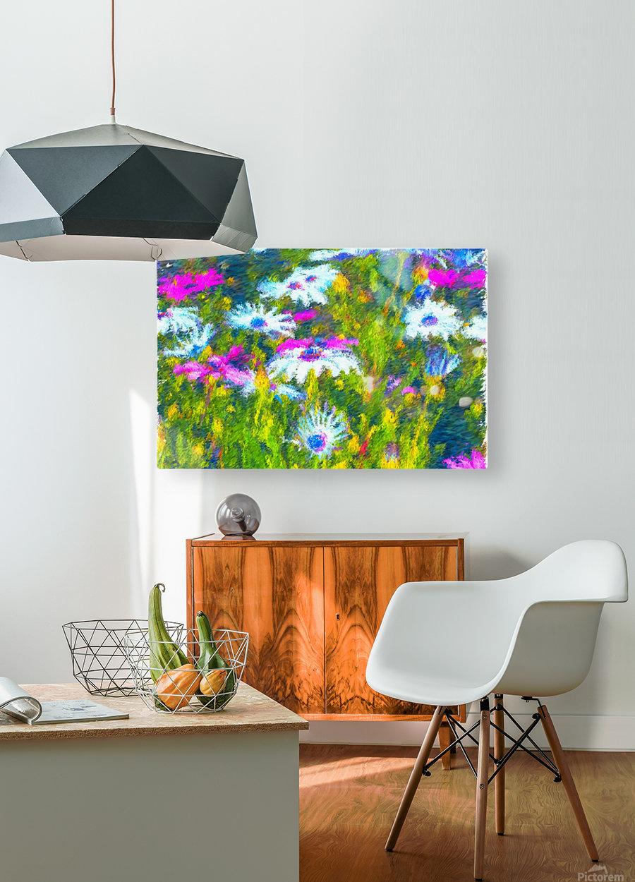 Joyful Daisy Field  HD Metal print with Floating Frame on Back