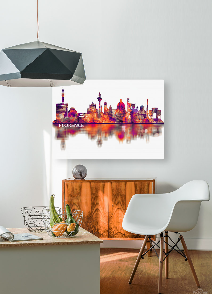 Florence Italy Skyline  HD Metal print with Floating Frame on Back