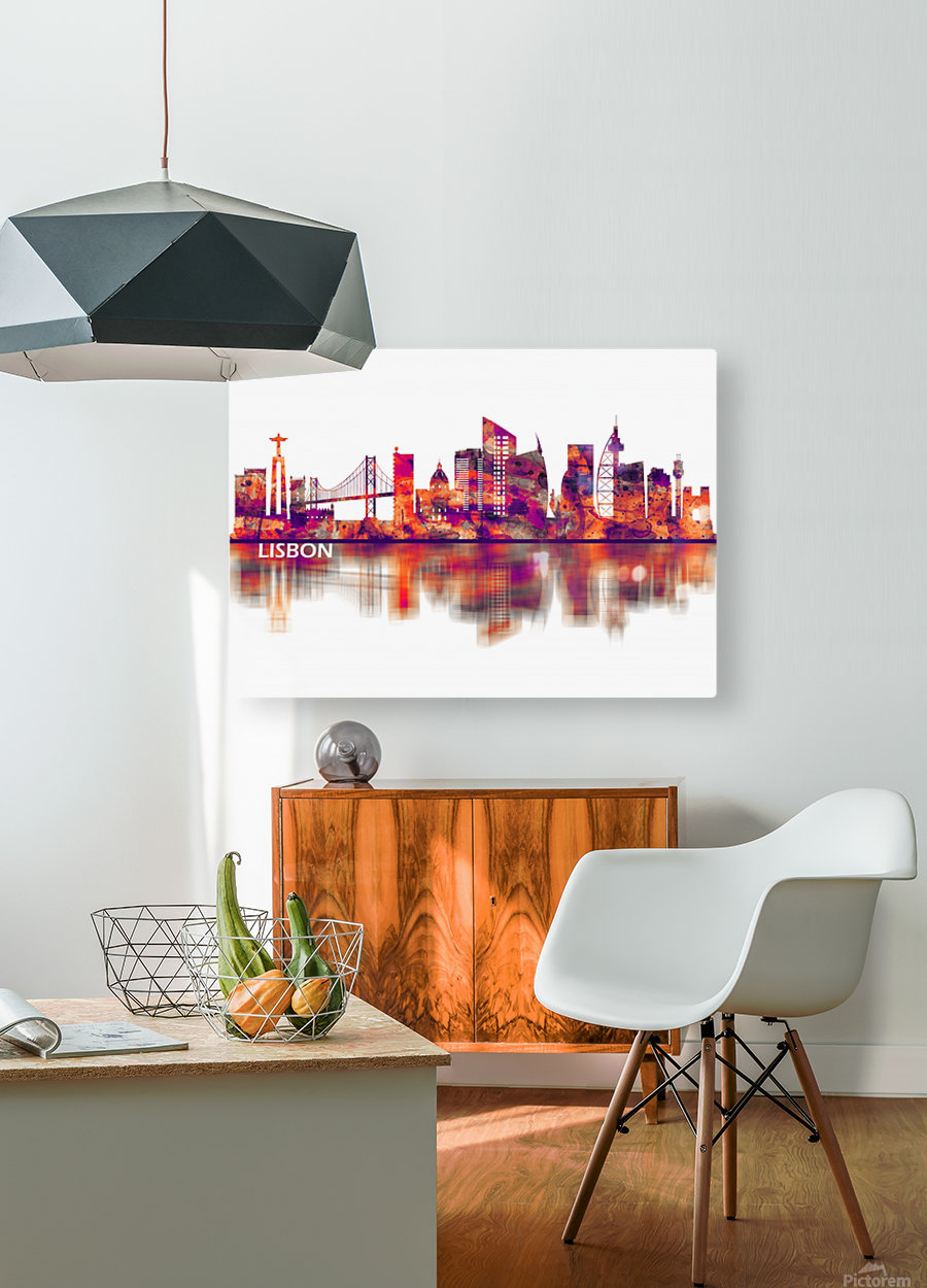 Lisbon Portugal Skyline  HD Metal print with Floating Frame on Back
